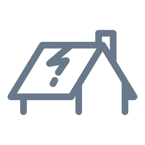 Cracked roof icon